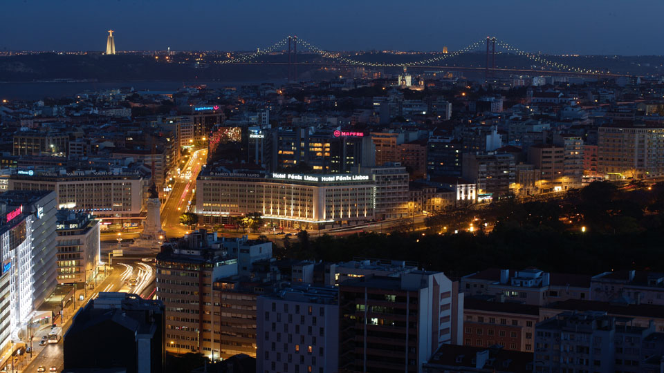 Lisbon skyline by night is breathtaking from the Sheraton Lisboa Hotel & Spa